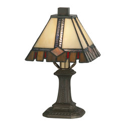 Dale Tiffany - Dale Tiffany TA100351 Castle Cut Accent Lamp - Shade: Hand Rolled Art Glass