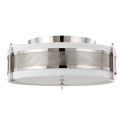 Nuvo - 4 Light - Large Flush Fixture - Slate Gray Fabric Shade - Slate Gray Shade. UL Dry Rated. Incandescent . Color/Finish: Polished Nickel. Max wattage: 60w. Bulb(s) not included. 24 in. W x 8.5 in. H