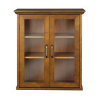 Elegant Home Fashions - Avery Wall Cabinet with 2 Doors -Wood veneer with Oil Oak finish - The Avery Wall Cabinet with Two Doors from Elegant Home Fashions features an oil oak finish with an elegant crown molded top offering storage with style for your bathroom.  It is also very functional with two adjustable shelves.  The tempered glass-paneled doors provides a clear view into the cabinet.  It also features metal knobs for easy opening. This cabinet comes with assembly hardware.