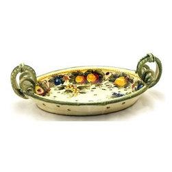 Artistica - Hand Made in Italy - Frutta Fondo Miele: Oval Tray with Serpentine Handles - Frutta Fondo Miele: