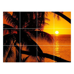 Picture-Tiles, LLC - Sunset Picture Kitchen Bathroom Ceramic Tile Mural  18 x 24 - * Sunset Picture Kitchen Bathroom Ceramic Tile Mural 1959