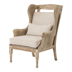 Marco Polo Imports - Cassius Arm Chair - Old fashioned arm chair made with 100% linen and a distressed wood frame with an ivory finish.