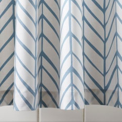 Serena & Lily - Aqua Feather Shower Curtain - Our take on timeless herringbone and chevron patterns, printed lines are loosely rendered for that extra design element. Mix or match with our signature bath towels and have fun finding your own fresh combos of patterns and colors.