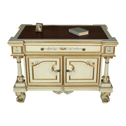 MBW Furniture - Antiqued White Painted Office Desk Writing Table - This is a beautiful antiqued white office desk. It has a very attractive top surface with shaped corners and a leather insert and it features a drawer with dovetail joinery that has lovely metal handles and a convenient cabinet with 2 doors. The front and sides of this piece have a distressed finish and are beautifully adorned with hand painted gold trim accents, painted foliage and scroll carvings and luxurious fluted columns on the corners. In addition it has gorgeous short cabriole legs with gold scrolls. It is a beautiful piece that will make a lovely addition to any room.