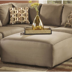 Signature by Ashley - Cowan Oversized Ottoman in Mocha Fabric - Contemporary Design. Mocha Fabric Upholstery. Taut Upholstery. CA117 Fire Retardant Foam. Black Bottom Dust Cover. Plastic Triblock Feet. Durable Frame Construction. Corners are Glued, Blocked and Stapled. Upholstery pre-approved for wearability and durability against AHFA Standards. Cushion core constructed of low melt fiber wrapped over high quality foam. 100% Polyester. Spot clean with water based cleaner. 40 in. W x 40 in. D x 20 in. H (43 lbs.)