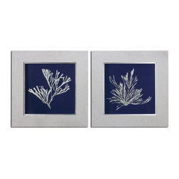 Uttermost - Seaweed On Navy Wall Art Set of 2 - Prints are accented by frames covered in off-white linen with the inner lips finished in silver leaf with light brown glaze. Prints are under glass.