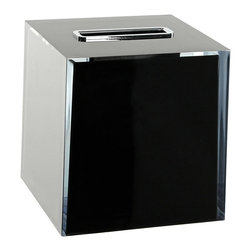 Gedy - Thermoplastic Resin Square Tissue Box Cover, Black - A decorative piece.