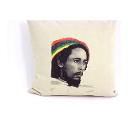 reStyled by Valerie - Bob Marley Couch Pillow, Decorative Throw Pillow, Reggae Decorative Pillow - The inspiring image of musician Bob Marley is just the bit of style and thoughtfulness your decor needs. This decorative throw pillow features a lustrous drawing of reggae icon Bob Marley, illustrated by Nick Williams and individually screen printed onto each natural beige linen blend fabric pillow.