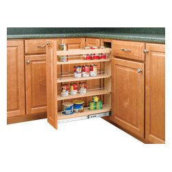 """Rev-A-Shelf - Rev-A-Shelf 448-BC-5C 5"""" Pullout Base Cabinet Organizer w/ Adjustable Shelves - If you are looking to give your kitchen a trendy contemporary look or even a conventional look, the 5"""" Pullout Maple Base Cabinet Organizer will fit in with your design concept. One of the most innovative pullout units in the industry, it is built from quality materials, made from maple, and features a UV clear coat finish, so these organizers are meant to last. It also features adjustable shelves with chrome rails to hold your kitchen products in place, and the patented ball-bearing tri-slide system. The Rev-A-Shelf 448-BC-5C is designed specifically for full height face frame base cabinets. Door mounting is easy with our patented door mount brackets that provide up to 5 inches of flexibility for trouble-free installation on any door style. Designed for 9"""" full height face frame base cabinets. Physical specifications: 5"""" W x 22-7/16"""" D x 25-7/16"""" H. Minimum Cabinet Opening Required: 5-1/8"""" W x 22-1/2"""" D x 25-5/8"""" H."""