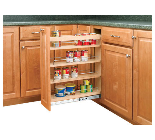 "Rev-A-Shelf - Rev-A-Shelf 448-BC-5C 5"" Pullout Base Cabinet Organizer w/ Adjustable Shelves - If you are looking to give your kitchen a trendy contemporary look or even a conventional look, the 5"" Pullout Maple Base Cabinet Organizer will fit in with your design concept. One of the most innovative pullout units in the industry, it is built from quality materials, made from maple, and features a UV clear coat finish, so these organizers are meant to last. It also features adjustable shelves with chrome rails to hold your kitchen products in place, and the patented ball-bearing tri-slide system. The Rev-A-Shelf 448-BC-5C is designed specifically for full height face frame base cabinets. Door mounting is easy with our patented door mount brackets that provide up to 5 inches of flexibility for trouble-free installation on any door style. Designed for 9"" full height face frame base cabinets. Physical specifications: 5"" W x 22-7/16"" D x 25-7/16"" H. Minimum Cabinet Opening Required: 5-1/8"" W x 22-1/2"" D x 25-5/8"" H."