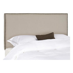 Safavieh - Sydney Queen Headboard - Choose the Sydney queen headboard for tailored luxury upholstered with taupe pure linen fabric over thick padding for comfort and style. Offering clean lines for contemporary or transitional interiors, the Sydney headboard features nailhead definition in brass.