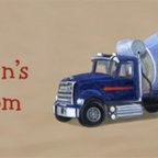 Cement Truck Personalized Room Sign and Door Sign - 10x20 Personalized Cement Truck Canvas Reproduction of original oil artwork. Each sign includes a space for a child's name. Fully assembled and ready to hang with wire hanger attached. Hang on the wall, door, or prop up on a shelf.