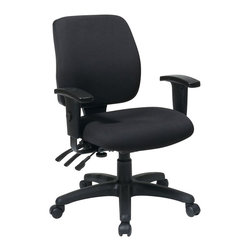 Office Star - Office Star Mid Back Dual Function Ergonomic Chair in Coal - Office Star - Office chairs - 3332730 - Mid back dual function Ergonomic chair with Ratchet back height adjustment with height and width adjustable arms. Pneumatic seat height adjustment 360 degree Swivel. Custom fabric choice