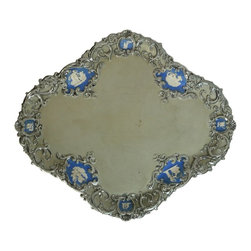 None visible - Consigned Ceramic Serving Tray or Platter w/ Moulded Jasperware&Silvered Border - Impressive Neoclassical tray or platter in stoneware, moulded border with jasperware style neoclassical vignettes and silvered highlights; antique English William IV, circa 1830.