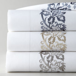 """SFERRA - SFERRA Full/Queen Embroidered Flat Sheet - White percale sheets prove to be the ideal backdrop for """"Plumes"""" needlework—one of the most beautiful embroideries we've ever seen. By Sferra. Made in Italy of Egyptian cotton woven in Italy. 406-thread-count. Machine wash. Select color when...."""