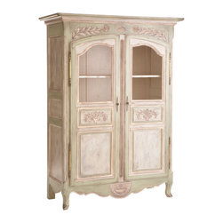 Carved Laurel Leaf Armoire for Linens - Pine trees grow in abundance in many parts of the world. So it's literally as if this handcarved, handpainted, linen armoire grew on a tree. The design is basic, even classic, though there is a variance in color. Each is footed, with two doors, several shelves with windows to view your wares.