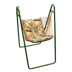 Algoma Net Company, Div. of Gleason Co - Swing Chair and Stand Combination - No need to hurry. This is one relaxing swing chair with stand. Made by Algoma Net Company of spun polyester weather-resistant fabric and 100% polyester rope cord with Macrame clew ends. Hammock swing chair features thick foam cushions. Easy to setup and enjoy. Made in the USA.