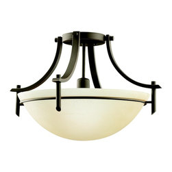 KICHLER - KICHLER 3678OZ Olympia Transitional Semi-Flush Mount Ceiling Light - The Olympia Collection brings a modern twist on the classic aesthetic to create a new form the likes of which has not been seen before. The curvilinear, flowing arms of these chandeliers, pendants, and wall sconces create a clean, contemporary profile for your home. The Olde Bronze finish combined with Sunset Marble glass diffusers and shades present a natural color palate capable of matching any décor. To add a decidedly different method to light your home, the Olympia Collection lends its unique character to this bold semi-flush mount fixture. It uses a 1-light design that requires a 150-watt (max.) bulb to light its satin-etched white glass cover. If you want a unique look for any room in your home, there is nothing quite like this fixture.
