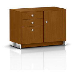 Geiger - Sled Base Credenza, 1 Door with Box and File Drawers - This accommodating office credenza allows you to store documents, small supplies and files. Featuring a cabinet on the right, you're able to stow larger items or other personal effects.