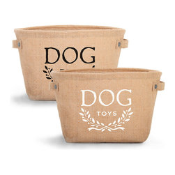 Hemp Toy Storage - White Graphic - Perfect for your entryway, mudroom, or patio with its durable burlap walls and safe wipe-clean interior, but elegantly stenciled to suit the living room as well, the Hemp Toy Storage bin comes complete with white lettering and a sweetly versatile laurel-wreath motif, as well as riveted side handles that make it easy to transport and attractive in use.