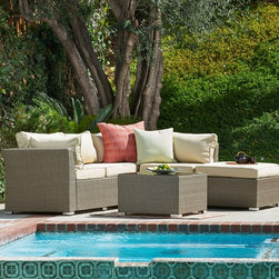 None - Jicaro 5-piece Outdoor Wicker Sectional Sofa Set - Offering the ultimate in style and comfort,the Jicaro five-piece Outdoor Wicker Sectional Sofa Set is the ideal showpiece for any outdoor living area. The included thick,luxurious cushions are soft enough to provide hours of comfort.