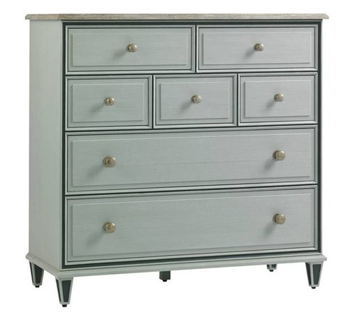 Stanley Furniture - Preserve-Beaufort Media Chest - Graceful living meets the digital age. Subtle glazed finishes combined with textural beaded drawer fronts and tarnished nickel knobs are sublime. A drop front top drawer provides and conceals media access.