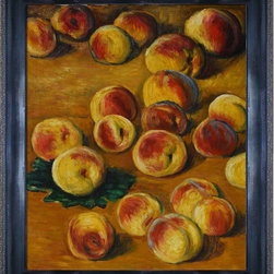 overstockArt.com - Monet - Peaches Oil Painting - Hand painted oil reproduction of a famous Monet painting, Peaches. Originally created in 1883, today it has been carefully recreated detail-by-detail, color-by-color to near perfection. Why settle for a print when you can add sophistication to your rooms with a beautiful fine gallery reproduction oil painting? While Monet successfully captured life's reality in many of his works, his aim was to analyze the ever-changing nature of color and light. Known as the classic Impressionist, Monet cannot help but inspire deep admiration for his talent in those who view his work. This work of art has the same emotions and beauty as the original. Why not grace your home with this reproduced masterpiece? It is sure to bring many admirers!