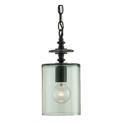 Currey and Company - Panorama Pendant - A creative use of hand blown recycled green glass forms a delightful shade for this one light pendant. The metal components are of wrought iron finished in Satin Black. It is the perfect lighting fixture for the use of an antique reproduction bulb. The industrial styling gains a softening charm from the imperfect glass.