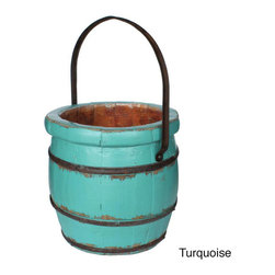 None - Wooden Barrel Decorative Bucket - A wooden water bucket that was used to transport water, now you can own a piece of history with this beautifully kept vintage water bucket. Handcrafted from sturdy elm and reinforced with wrought iron, these buckets will decor your home for years to come.
