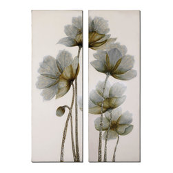 Uttermost - Uttermost Floral Glow Floral Art Set of 2 34201 - This frameless, hand painted oil is on canvas and is stretched and attached to wood stretching bars. Due to the handcrafted nature of this artwork, each piece may have subtle differences.