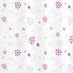 Contemporary Fabric Shower Curtain - Bijou - You — and your bathroom — will be fresh as a daisy with this fun shower curtain. It's made of easy care polyester fabric, featuring berry and gray blooms and swirls against a white background. Even better, it's machine washable and requires no liner.