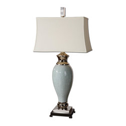 Uttermost - Rossa-Light Blue Table Lamp - Play it impeccably cool in your decor. There's a nicely icy feel to this pale blue ceramic lamp, touched with polished nickel and topped with a white linen shade.