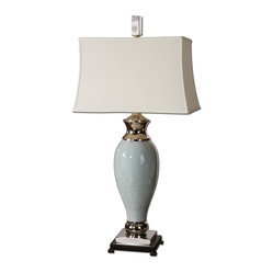 Uttermost - Rossa Light Blue Table Lamp - Play it impeccably cool in your decor. There's a nicely icy feel to this pale blue ceramic lamp, touched with polished nickel and topped with a white linen shade.