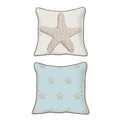 Casart Coverings - Starfish Pillow Slipcover, Starfish/Brown, Square - 18 in X 18 in - Reversible, all-weather, washable pillow slipcover