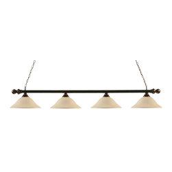"Toltec - Toltec 399-BC-612 Round 3-Light Billiard Light Shown in Black Copper Finish - Toltec 399-BC-612 Round 3-Light Billiard Light Shown in Black Copper Finish with 16"" White Linen Glass"