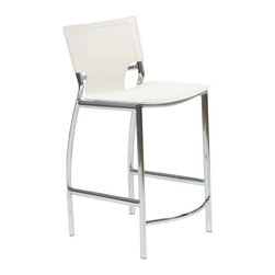 Eurostyle - Eurostyle Vinnie-C Counter Chair in White Leather & Chrome [Set of 2] - Counter Chair in White Leather & Chrome belongs to Vinnie Collection by Eurostyle The Vinnie Counter Stool represents the future of modern chair design with its futuristic styling and progressive seating concept. Featuring a chromed steel frame with a leather seat and back available in 3 different color options including Brown, Black, and White. These features make the Vinnie Counter Stool a must have piece for eating areas in homes. The Vinnie Collection also features a Bar Height Stool. Counter Chair (2)
