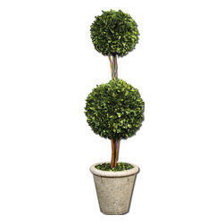Uttermost - Two Sphere Topiary Preserved Boxwood - Natural evergreen foliage preserved while freshly picked, looks and feels like living boxwood. Double spheres arranged on wooden twigs, potted in a mossy stone finished terracotta planter. Bulbs Included: No