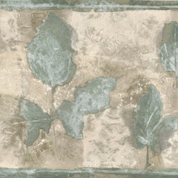 York Wallcoverings - Green Cream Olive Leaf Wallpaper Border - Wallpaper borders bring color, character and detail to a room with exciting new look for your walls - easier and quicker then ever.