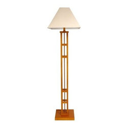 Mosko Floor Lamp - Honey - The elegant tiered Mosko Floor Lamp - Honey is the perfect choice for your contemporary home. Inspired by classic Asian designs this sleek and sophisticated piece stands 62 inches tall. Crafted from solid wood the distinctive square base features a warm and inviting honey finish that will complement and enhance your decor. This UL-approved piece is topped with an angled white fabric shade that will fill any room with a soft and soothing glow. It utilizes a classic inline switch. This lamp requires a single 60-watt maximum medium-base light bulb which is not included.About Oriental FurnitureWhat began in 1985 as a simple retail store in Natick Mass. has now blossomed into Oriental Furniture one of the largest online retailers of furniture gifts and accessories. The company combs the globe for beautiful quality products and imports items directly from around the world in order to reduce costs for customers. With a wide variety of products available Oriental Furniture offers distinctive design solutions for the style-minded home decorator.
