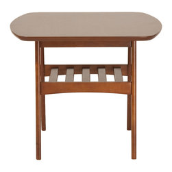 Euro Style - Carmela Side Table - With walnut veneer on top and solid wood bases, Carmela is almost clubby with a touch of craftsman. You can see it next to deep leather furniture and after dinner brandy. Tables to gather around and celebrate anything.