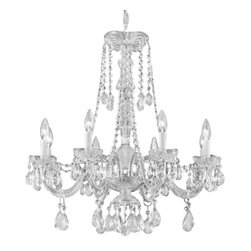 "The Gallery - New! Crystal Chandelier Murano Venetian Style H24"" x W27"" - THIS MAGNIFICENT CHANDELIER IS ALL 100% CRYSTAL. Nothing is quite as elegant as the fine crystal chandeliers that gave sparkle to brilliant evenings at palaces and manor houses across Europe. This beautiful chandelier is decorated with 100% crystal that capture and reflect the light of the candle bulbs, each resting in a scalloped bobache. The crystal glass arms of this wonderful chandelier give it a look of timeless elegance that is sure to lend a special atmosphere in any home. Please note this item requires assembly. This item comes with 18 inches of chain."