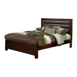 Alpine Furniture - Solana Cal King Platform Bed with Faux Leather Headboard - Solana California King Platform Bed with Faux Leather Headboard