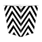 """Marye Kelley - Marye Kelley White and Black Chevron Decoupage Wastebasket with Optional Tissue - This is a handmade decoupage wastebasket with optional tissue box.  All items are handmade in the USA.  There are three different styles available.  There is the 12"""" Fluted Tin Design, the 11"""" Square Design with a flat top or the 11"""" Square design with a scalloped top.  Coordinating tissue boxes may also be made. Please note all items are custom made and may not be returned."""