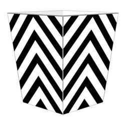 "Marye Kelley - Marye Kelley White and Black Chevron Decoupage Wastebasket with Optional Tissue - This is a handmade decoupage wastebasket with optional tissue box.  All items are handmade in the USA.  There are three different styles available.  There is the 12"" Fluted Tin Design, the 11"" Square Design with a flat top or the 11"" Square design with a scalloped top.  Coordinating tissue boxes may also be made. Please note all items are custom made and may not be returned."