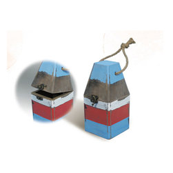 """Red, White & Blue Wooden Buoy Box - The distressed wooden buoy box measures 7"""" x 3.3"""" x 3.3"""". It's red, white  blue in color. It makes a great gift  works well in many decor environments."""
