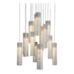 Light in Art Tanzania Chandelier - White - Give your decor a crisp accent with the Light in Art Tanzania Chandelier - White. This set of lights is handcrafted with beautiful glass pieces. Each offers a unique texture in color tones of white, cream, and beige. Included halogen bulbs offer just the right amount of glowing illumination. Perfect for any table, counter, or living space, they add a modern touch with artistic appeal.About Light in ArtLight in Art showcases the work of renowned artist Shimon Peleg, an international glass and stained glass artist with stores worldwide. Since 2006 Shimon Peleg has been using his glass art to illuminate homes around the world. Each of his lighting designs is a handmade masterpiece that will fill your space with warmth and harmony. The glass he uses is richly colored and fused to become an integral part of the glass that will not fade or scrape away. The vibrant hues are completely embedded within the glass. Light in Art brings beauty to your home and their pieces include stained glass lighting, abstract glass art, and stained glass sinks designed to inspire.