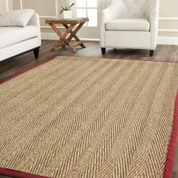 Safavieh - Hand-woven Sisal Natural/ Red Seagrass Rug (5' x 8') - Dress up any space with this natural hand-woven rug made from seagrass with a cotton backing. The fringeless border on this rug gives it a clean look.
