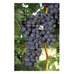 Picture-Tiles, LLC - Wine Grapes Picture Kitchen Bathroom Ceramic Tile Mural  32 x 48 - * Wine Grapes Picture Kitchen Bathroom Ceramic Tile Mural 1560