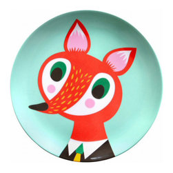 Helen Dardik Melamine Plate Orange Fox on Light Turquoise - One 8 inch Helen Dardik Polar Fox print on light turquoise 100% melamine plate. Perfect for children, outdoor entertaining or everyday light lunch or snack. BPA and Phthalate free. Dishwasher safe; not suitable for microwave use.