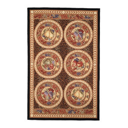 """Safavieh - Chelsea Rug, Black/Brown, 7'-9"""" x 9'-9"""" - 100% pure virgin wool pile, hand-hooked to a durable cotton backing. American Country and turn-of-the-century European designs. Th'scollection is handmade in China exclusively for Safavieh."""